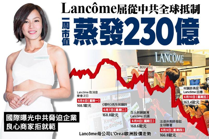 Lancôme屈從中共 全球抵制  一周市值蒸發230億