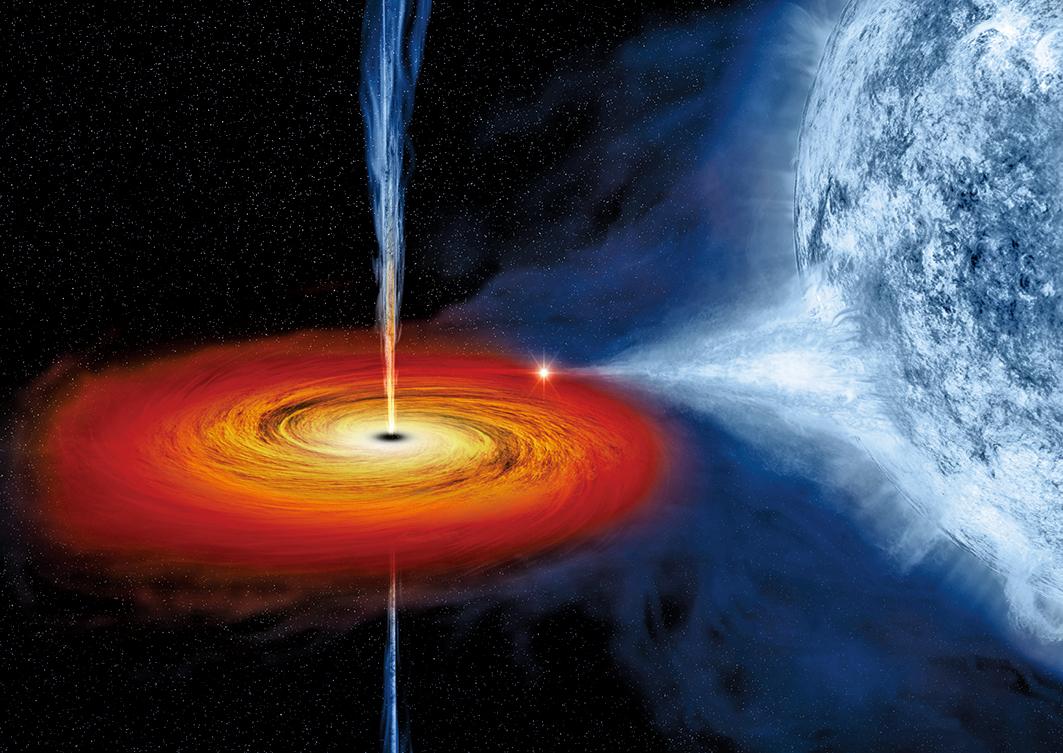 美國勞倫斯利佛摩國家實驗室的研究指出,中型黑洞或能讓已經死亡的白矮星「復活」。圖為一個黑洞吸入鄰近藍色恆星的物質的示意圖。(NASA)