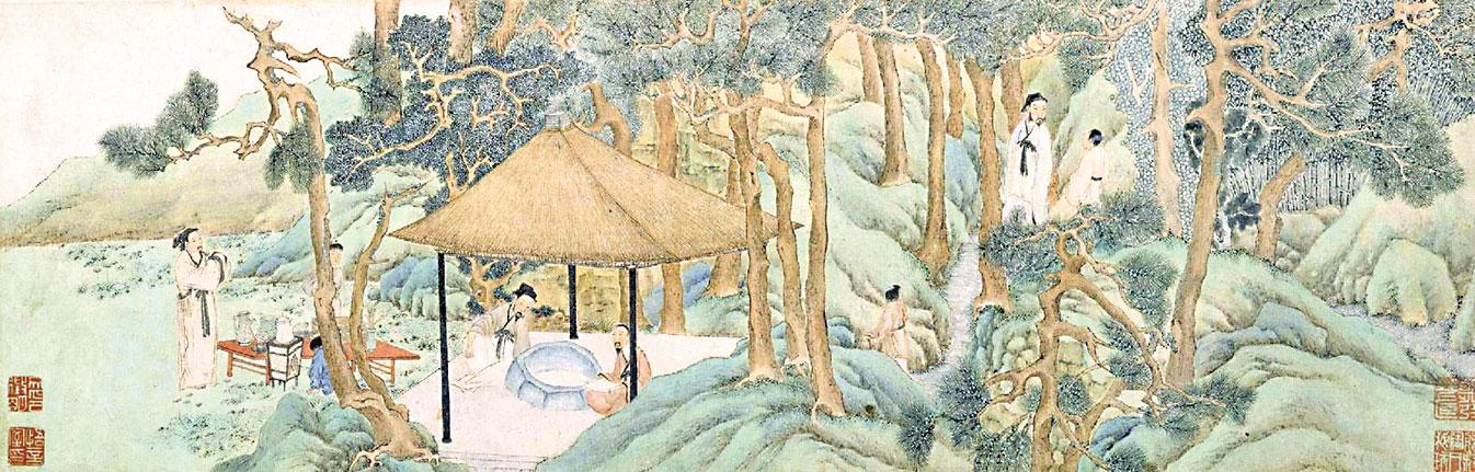 明代文徵明的〈惠山茶會圖〉,描繪一群文人雅士在二泉亭井邊以茶會友的場景。(公有領域)