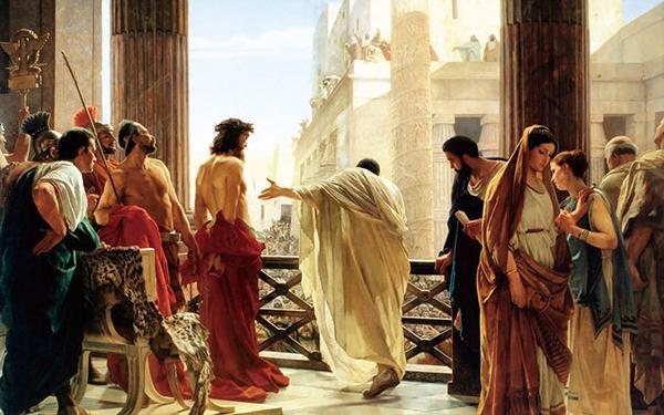 〈瞧,這個人〉彼拉多詢問猶太人是否釋放耶穌,Antonio Ciseri。(公有領域)