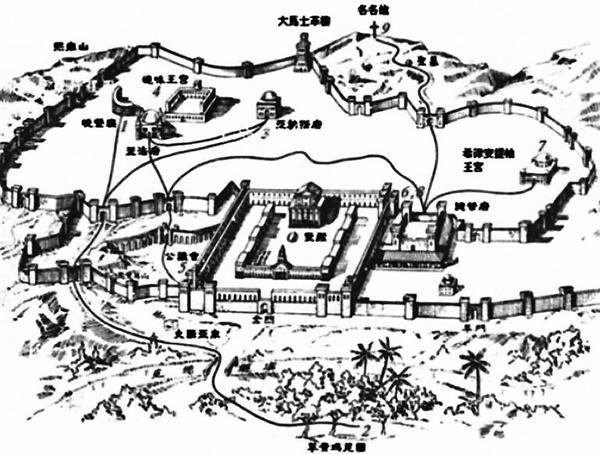 耶穌最後一次在耶路撒冷的路徑圖,西方在圖的上方。(視頻截圖)