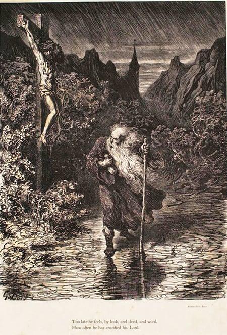 〈流浪的猶太人〉古斯塔.多雷(Gustave Doré),19世紀。(公有領域)