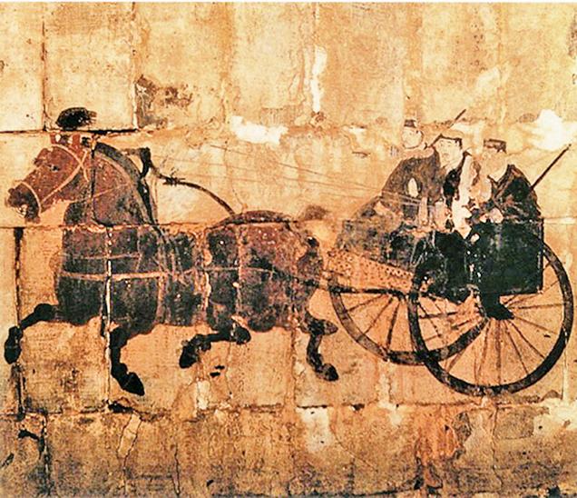 「洛陽朱村東漢墓壁畫「御車圖」(局部)。(公有領域)」