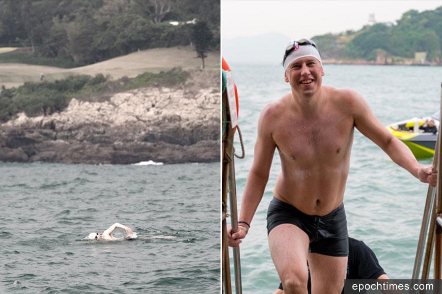 Splash Foundation聯合創辦人Simon Holliday在2017年11月接受環游香港島挑戰,以12小時34分完成。圖為他在環島途中(左)及抵達終點西環泳棚時的情況。(HK360Swim網站)