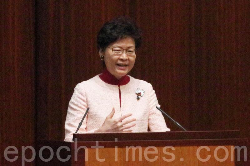 林鄭月娥表示,根據以往航拍照,以及近日視察,深圳邊防人員佔用的土地是屬於香港。(蔡雯文/大紀元)