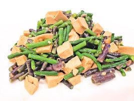 素雞炒青紫豆角