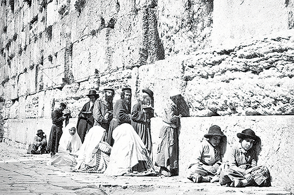哭牆邊的猶太人,Felix Bonfils攝於1870年。(公有領域)