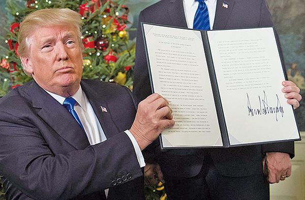 美國總統特朗普宣布承認耶路撒冷為以色列首都。(AFP)