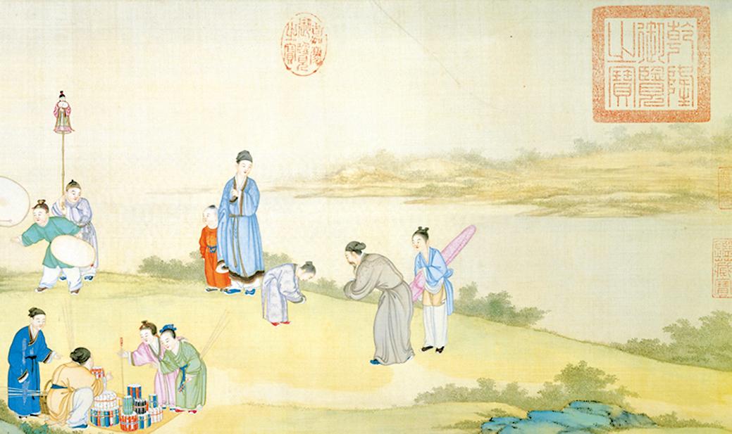 清‧丁觀鵬〈太平春市圖〉局部(文津出版 提供)