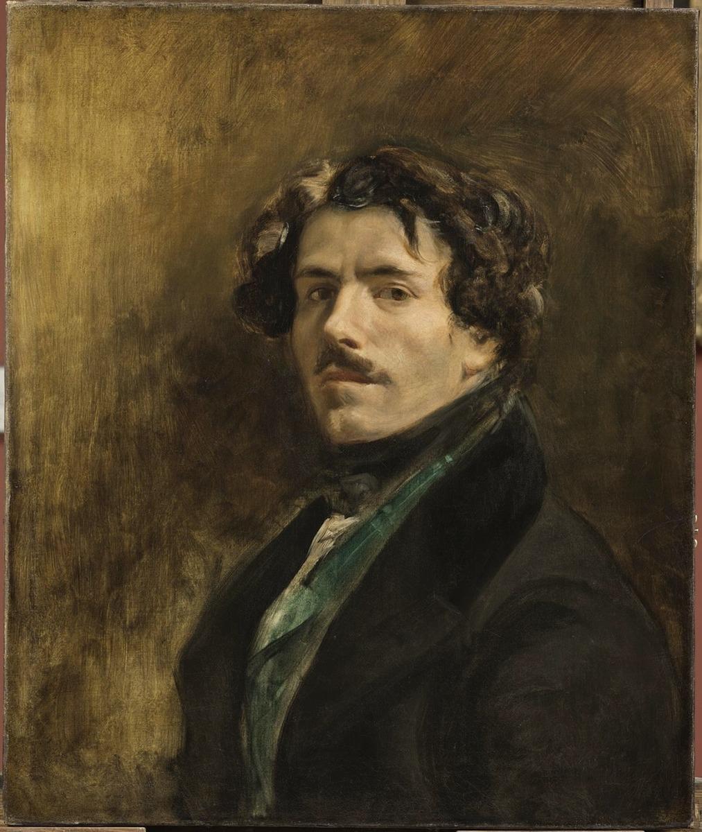 《穿綠色背心的自畫像》(1837)(羅浮宮博物館)