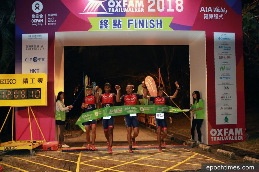 連續兩年獲得冠軍的尼泊爾隊伍AWOO Team Nepal,今年以12小時8分衝線,獲得第二名。(陳仲明/大紀元)
