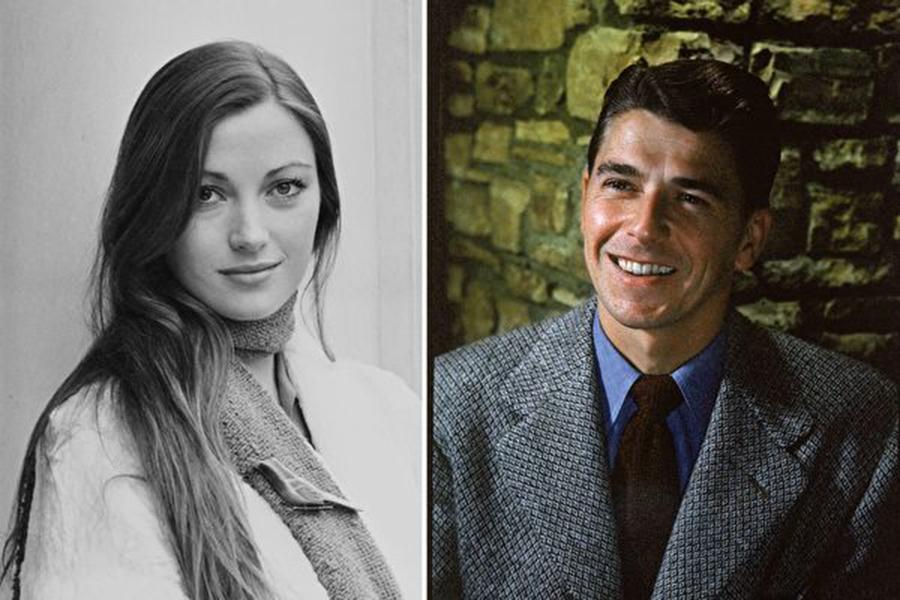 左:英國影星珍·茜摩爾;右:1960年代的朗奴·列根。(Getty Images/大紀元合成)