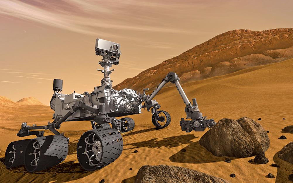 在距離地球約1億2,600萬公里的火星上,一台四輪傳動車大小的機械人孤零零待在這個龐大又冰冷的紅色星球上。(AFP)(NASA)