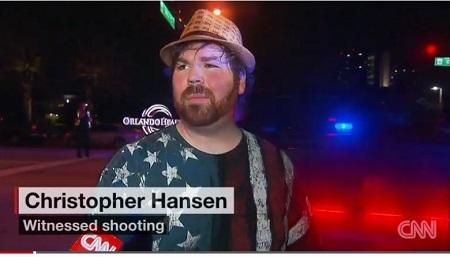 目擊者漢森(Christopher Hansen)表示,佛州奧蘭多恐怖襲擊案發生後,受傷者逃往街頭,地上「到處都是血。」(CNN截圖)
