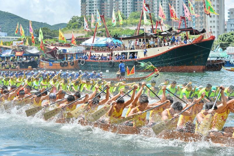 2016年6月9日,香港仔海濱公園舉行的「2016香港仔龍舟競渡大賽」活動。(宋祥龍/大紀元)
