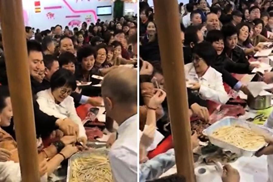 中國大媽「進博會」哄搶食物 影片被曝光