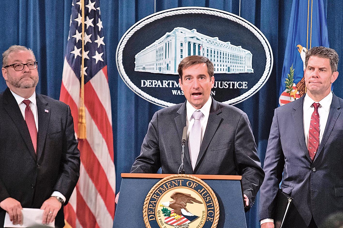 美國司法部近期一直在打擊中共龐大的、廣泛的、長期的間諜行動。(AFP)