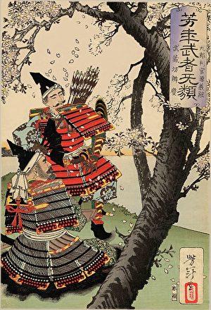 日本武士與櫻花(公有領域)
