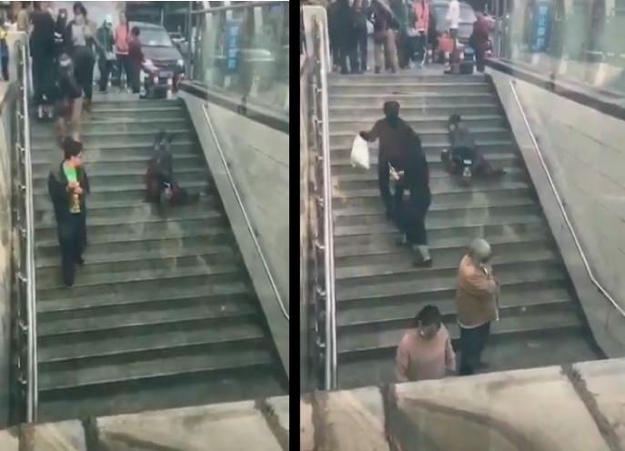 大陸一段網絡影片顯示,四川攀枝花一老人在街頭樓梯處疑似病發跌倒,周圍有不少人路過卻無人施救。(影片截圖合成)