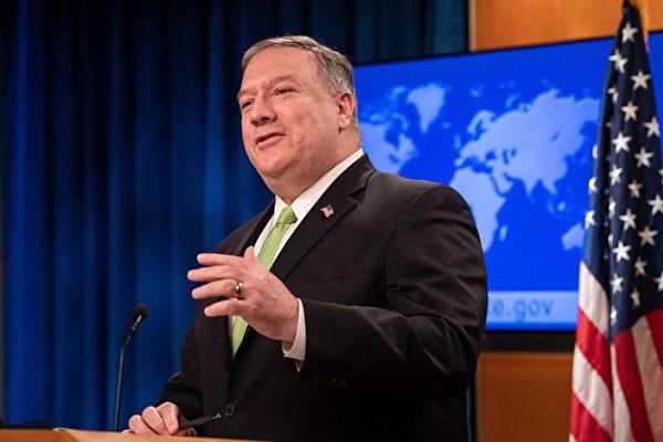 5月20日,蓬佩奧在國務院召開的新聞會上再次批評中共。他首先談到一個基本事實,即自1949年以來,中國一直由一個殘酷的威權政權統治,以及民調顯示,美國人對中國(中共)越來越反感。(Photo by NICHOLAS KAMM / POOL / AFP)
