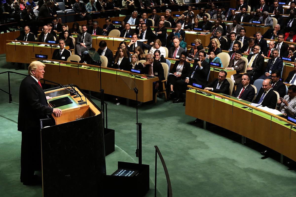 美國總統特朗普本周二在紐約聯合國大會第74屆會議的演講中發出警告:社會主義幽靈在威脅世界。(Spencer Platt/Getty Images)