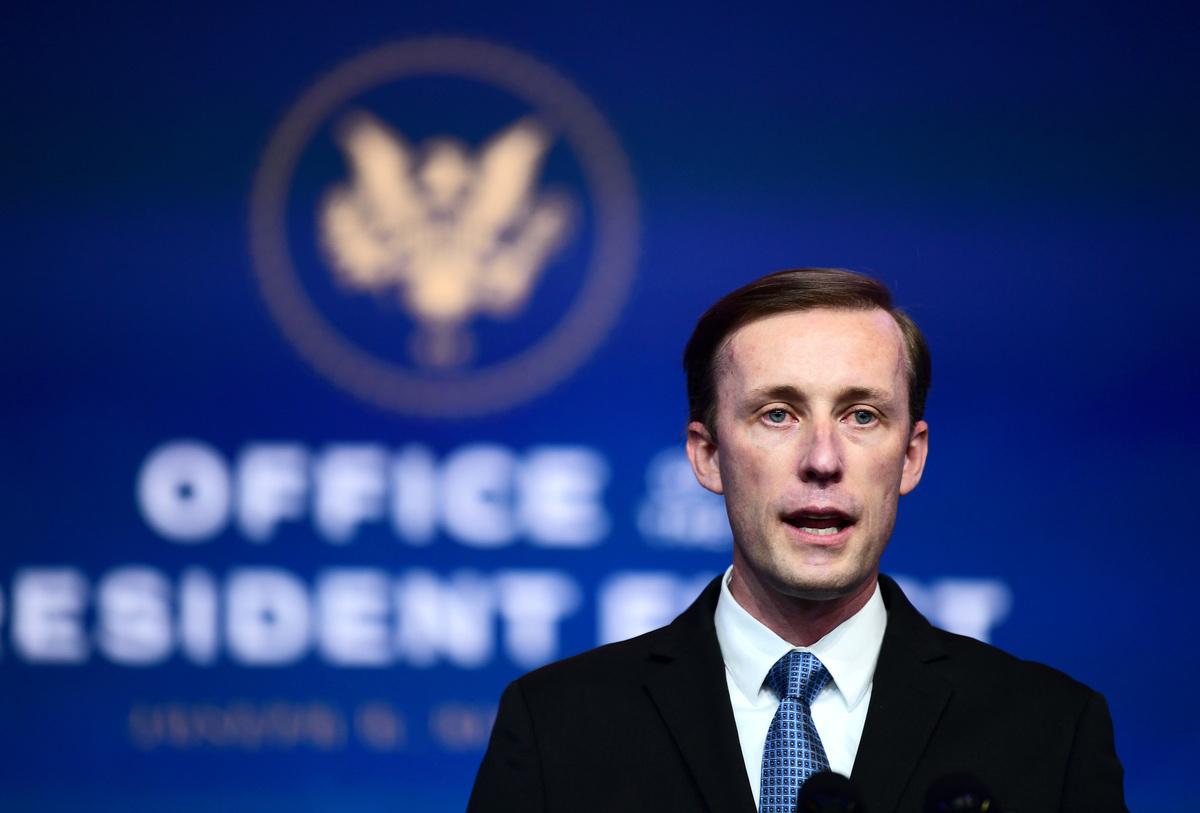 2020年11月24日,美國國家安全顧問提名人傑克·沙利文(Jake Sullivan)獲任命後在特拉華州威爾明頓的王后劇院活動上發言。(Mark Makela/Getty Images)