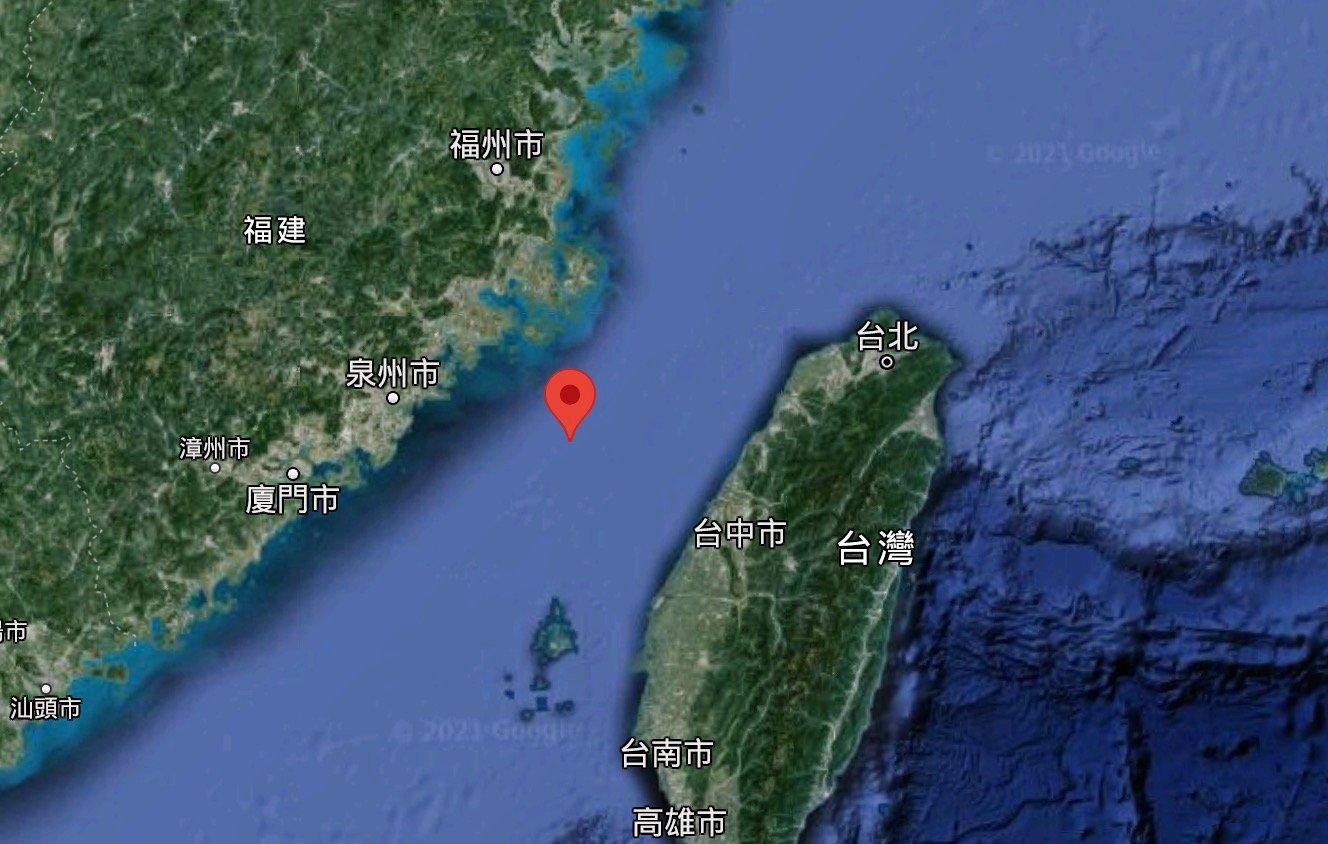 示意圖,圖為台灣海峽。(Google地圖)