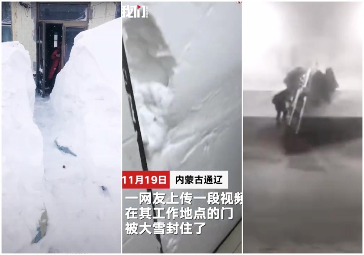 內蒙、東北部份地區近日出現暴雪天氣,有些居民的門也被封住。(影片截圖)