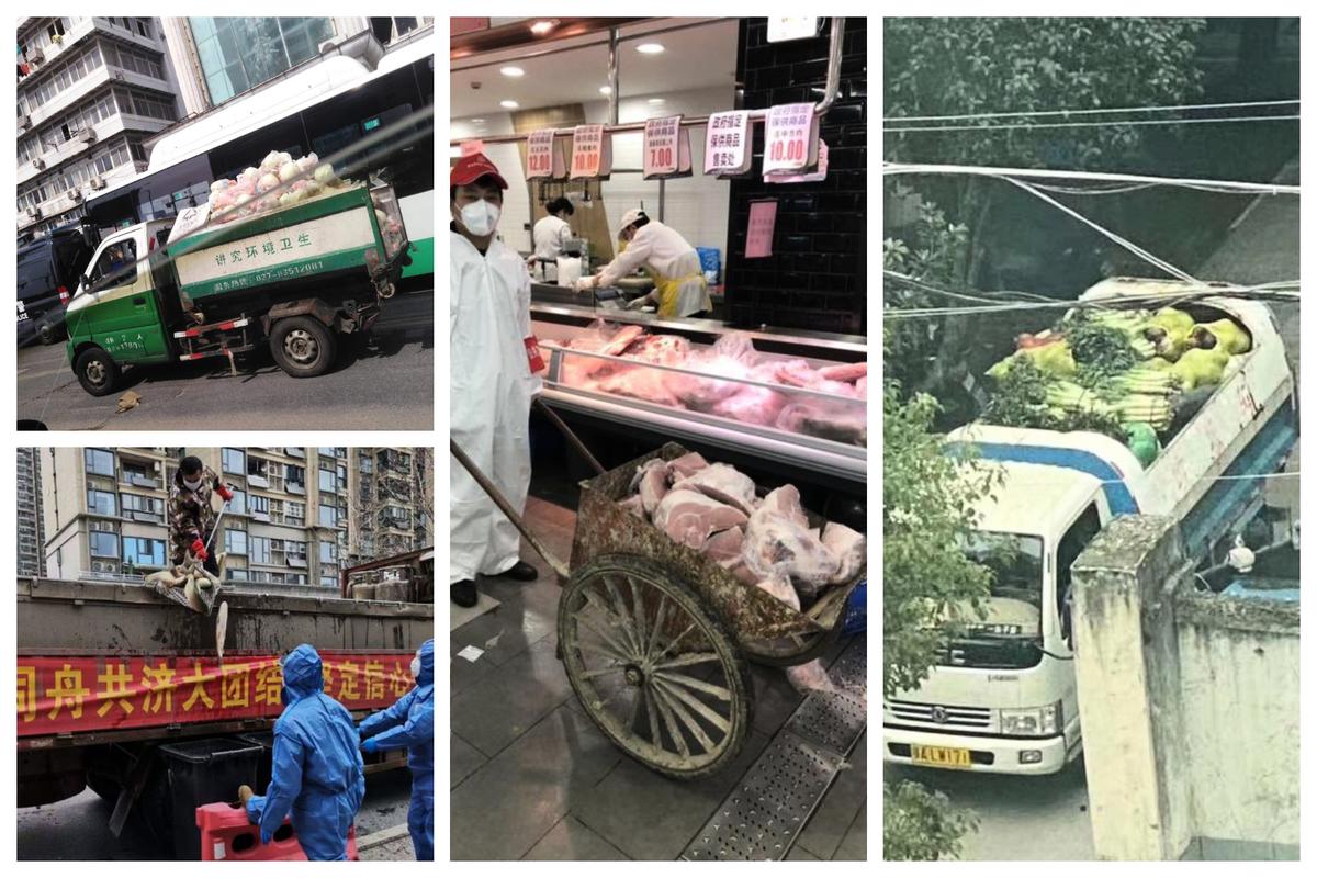 武漢社區被曝出用垃圾車運送肉類蔬菜等物資。(知情人提供)
