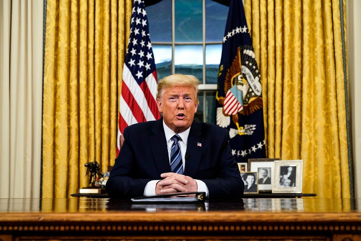 美國總統特朗普2020年3月11日晚在橢圓形辦公室就中共病毒(俗稱武漢病毒、新冠病毒)發表全國講話,他表示美國「有信心」減少持續的病毒威脅。(Doug Mills-Pool / Getty Images)