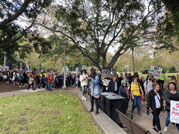 2021年5月15日,在澳洲悉尼海德公園舉行「自由、和平和人權」集會。 (李睿/大紀元)