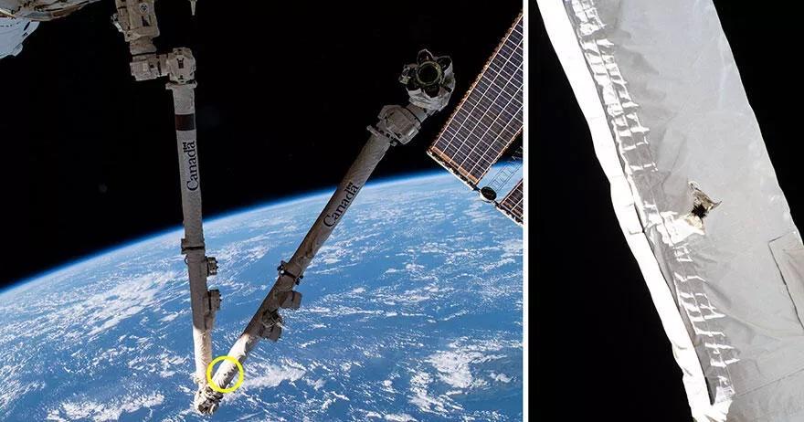 國際太空站主要機械臂被太空垃圾撞傷