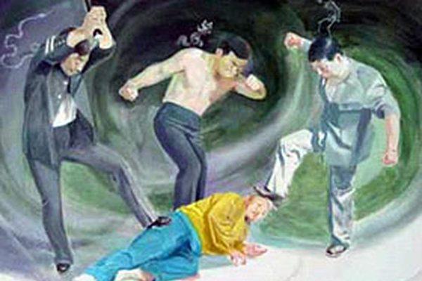 法輪功學員陳少民曾在被非法勞教期間遭受過毒打。圖為中共酷刑示意圖:毒打。(明慧網)