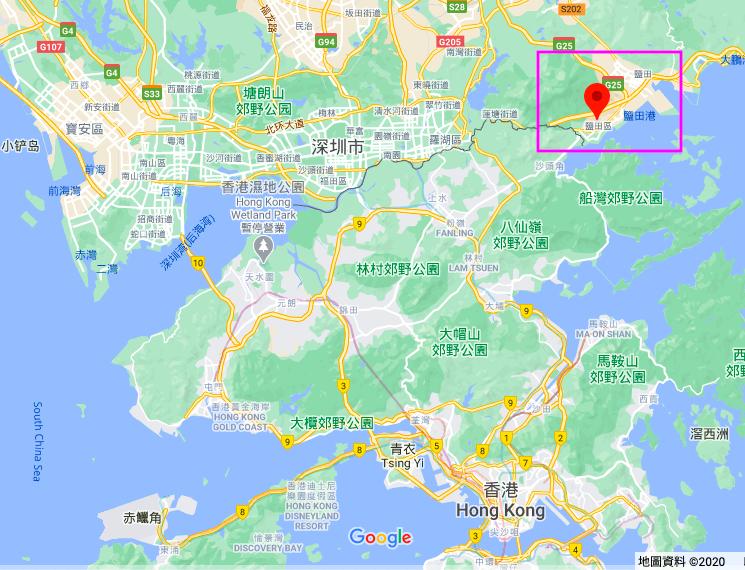 8月12名反送中港人在偷渡前往台灣途中遭中共扣押,被拘留在深圳鹽田看守所。圖為該看守所在地圖上的位置。(谷歌地圖)
