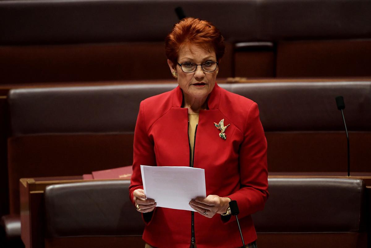 澳洲一國黨領袖韓珊(Pauline Hanson)表示世界經濟論壇推動的「大重構」議程將給澳洲人的經濟福祉和個人自由造成毀滅性的破壞。(Tracey Nearmy/Getty Images)