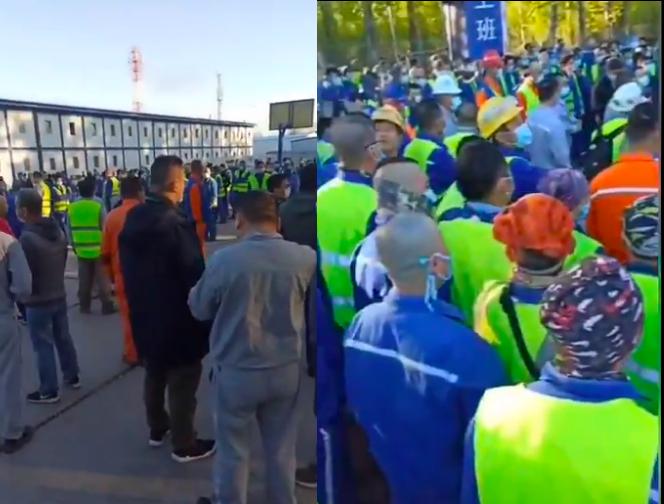 有網傳影片顯示,參與俄羅斯DCC項目的中國化學工程第七建設有限公司的中國籍工人想要回國,但是中共當局未有協助。(影片截圖合成)