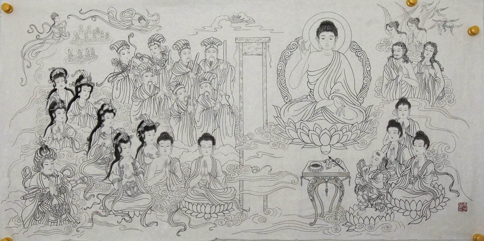 繪畫(白描):「洪誓真願」,作者:雲水(中國大陸)(明慧網)