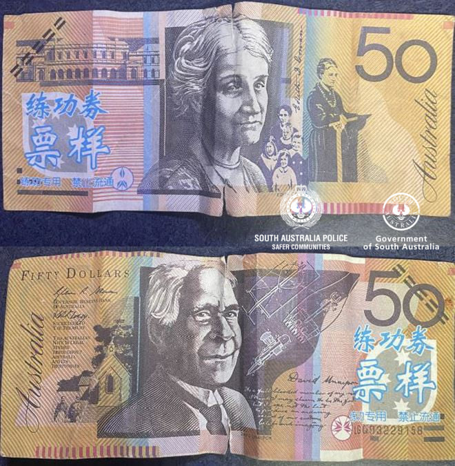 南澳警局(South Australia Police )在Facebook發布了商家收到的帶中文字樣的假鈔。(南澳警局Facebook)
