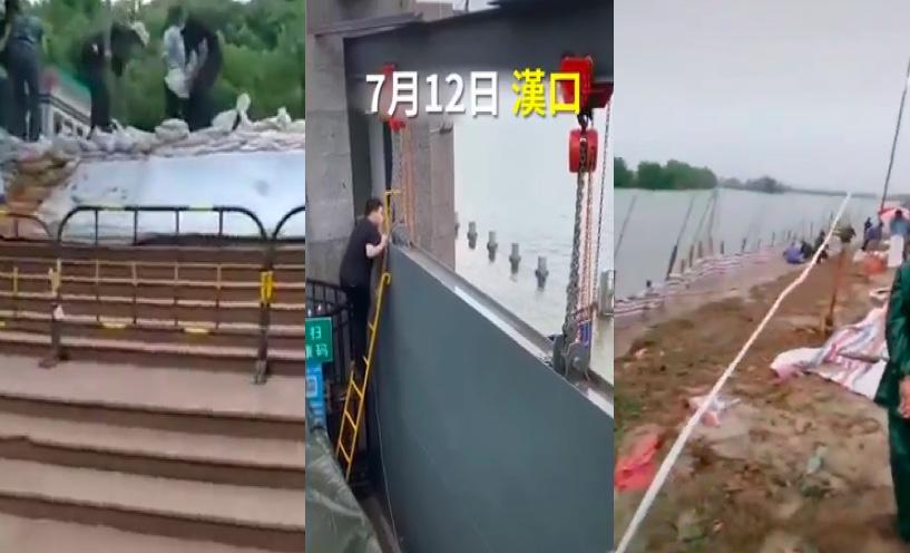 湖北洪湖將防汛應急響應提至一級,武漢防汛組長稱洪水可防控,遭網民痛罵。網傳影片顯示,一線搶險人員譴責領導作秀。(影片截圖合成)