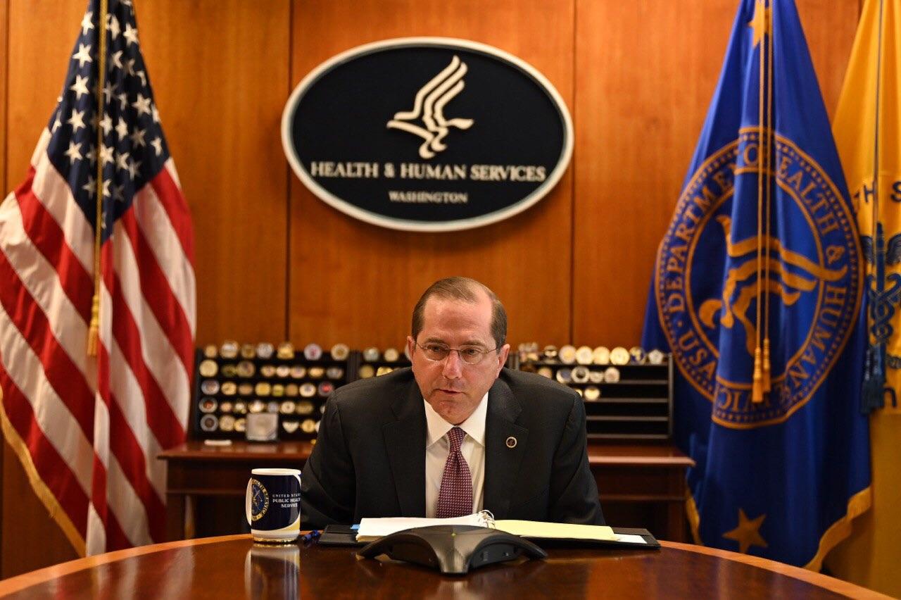 美國在台協會(AIT)2020年8月5日表示,美國衛生及公共服務部長亞歷克斯·阿札爾(Alex Azar)將於未來數日率團訪問台灣,阿札爾為首位訪台的美國衛生部部長,也是六年來首位訪台的美國內閣成員,以及1979年以來訪台層級最高的美國內閣官員。(中華民國衛福部提供)