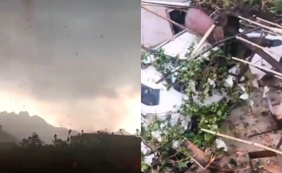 龍捲風襲煙台兩村 掀翻屋頂颳斷電線杆