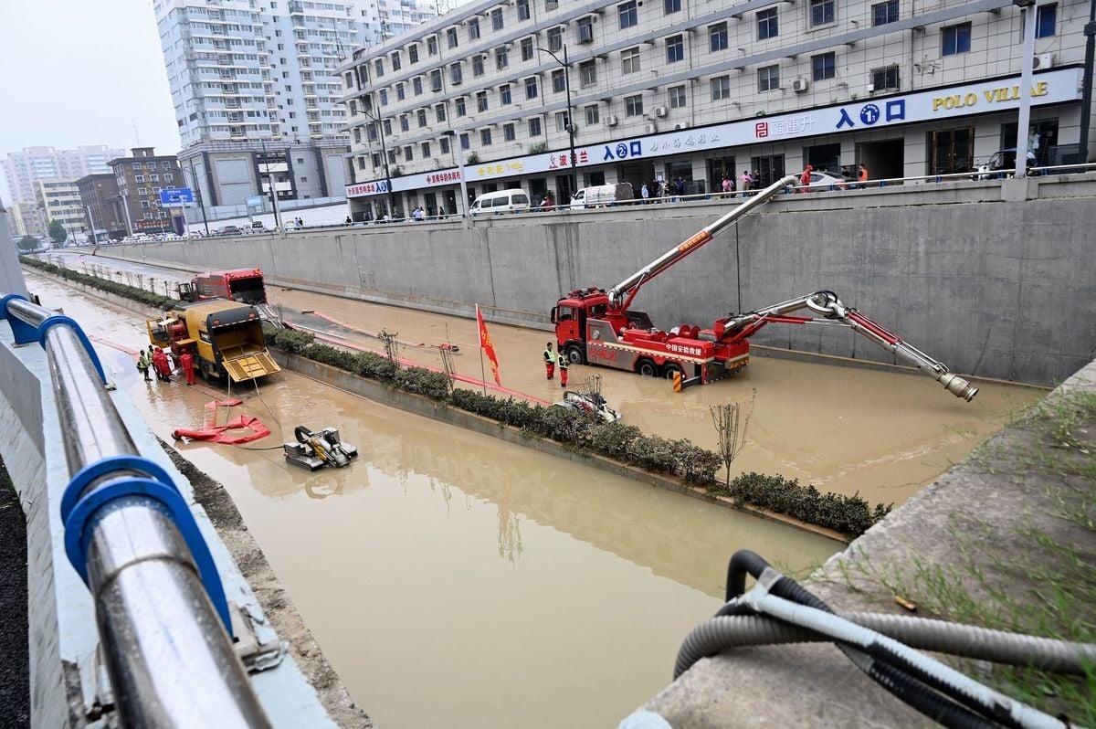 中國鄭州近期的受災情形。(JADE GAO/AFP via Getty Images)