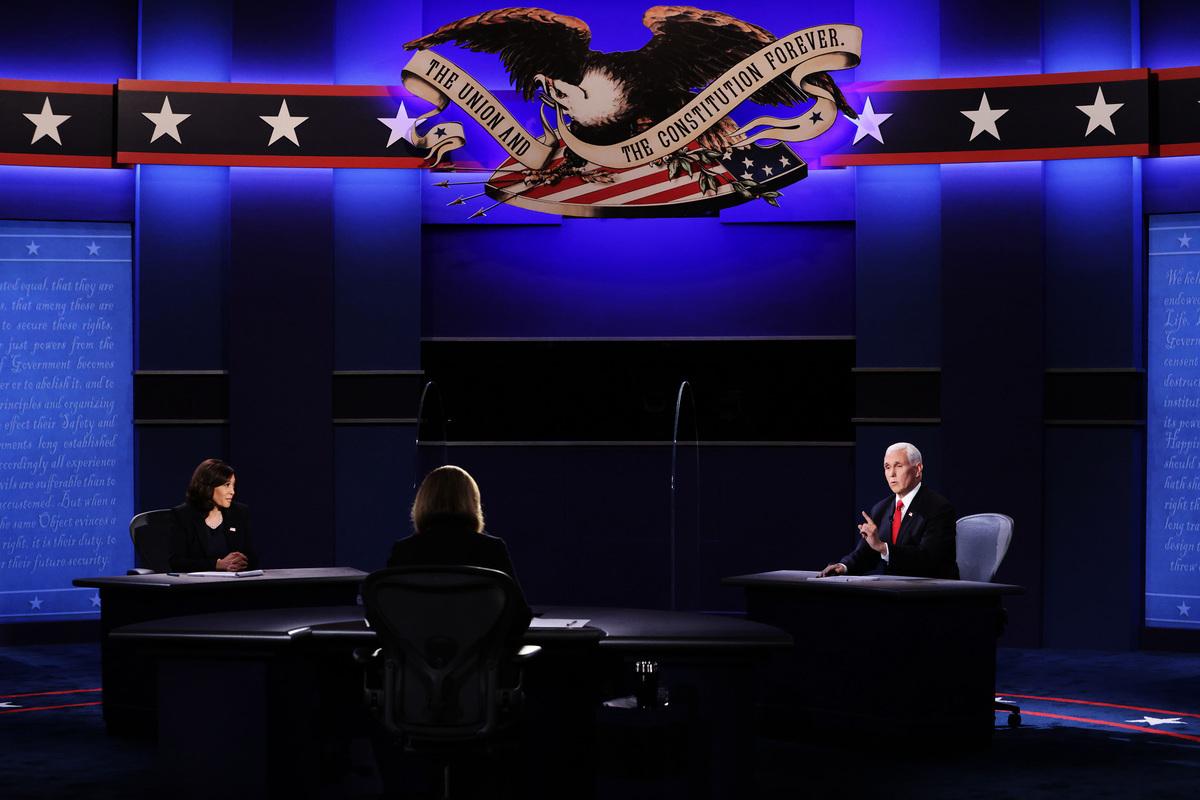 2020年美國大選唯一一場副總統候選人辯論會,在周三(10月7日)晚間9:00(美東)登場。雙方在經濟問題上,進行了激烈的交鋒。(Alex Wong/Getty Images)