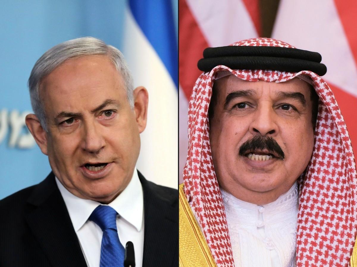 以色列總理內塔尼亞胡(左)和哈馬德‧本‧伊薩‧阿勒哈利法(右)。(Abir SULTAN and Mandel NGAN/various sources/AFP)