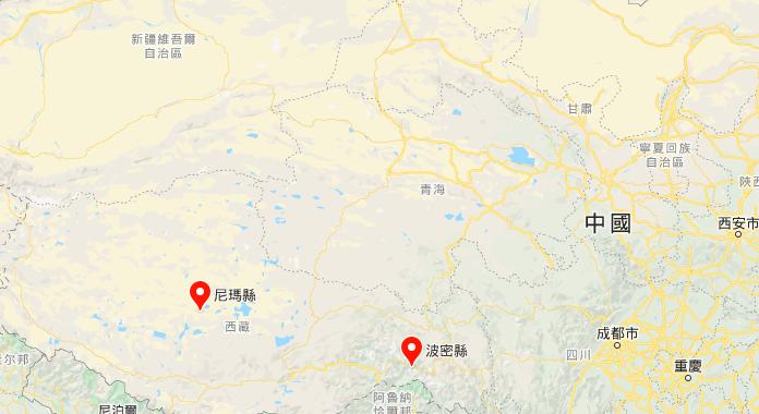 7月23日,西藏那曲市尼瑪縣連發4次地震,西藏林芝市波密縣也發生一次地震。(谷歌地圖)
