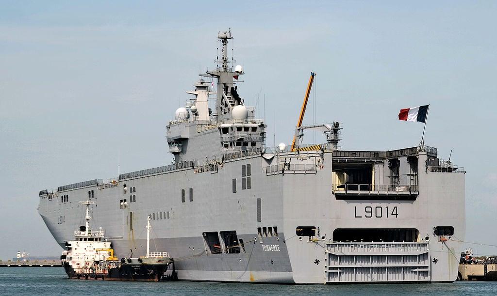 法國西北風級(Mistral)兩棲攻擊艦Tonnerre。(ROSLAN RAHMAN/AFP via Getty Images)