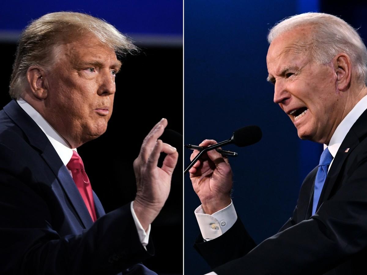 美東時間周四(10月22日)晚9點,美國大選最後一場總統辯論會,共和黨現任總統特朗普(左)、民主黨候選人拜登(右)展開激烈辯論。(BRENDAN SMIALOWSKI,JIM WATSON/AFP via Getty Images)