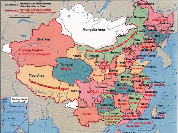 中華民國與中華人民共和國行政區域的差異。(Electionworld/維基百科)
