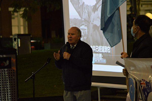 澳洲國家公民委員會前主席威斯特摩爾(Peter Westmore)在活動中表示,中國人才是遭受中共迫害最嚴重的群體。(張博聞/大紀元)
