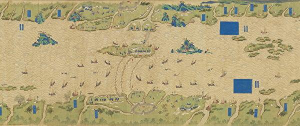 十二月,元軍數以萬計的戰艦從漢口進入長江。圖為〈長江地理圖〉局部。(台灣故宮提供)